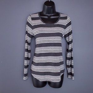 NWT REITMANS Striped Top T-Shirt Long Sleeve Stretch Gray White Size S
